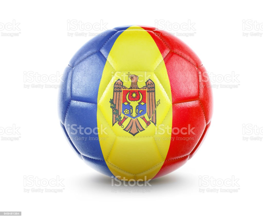 High qualitiy soccer ball with the flag of Moldova rendering.(series) stock photo