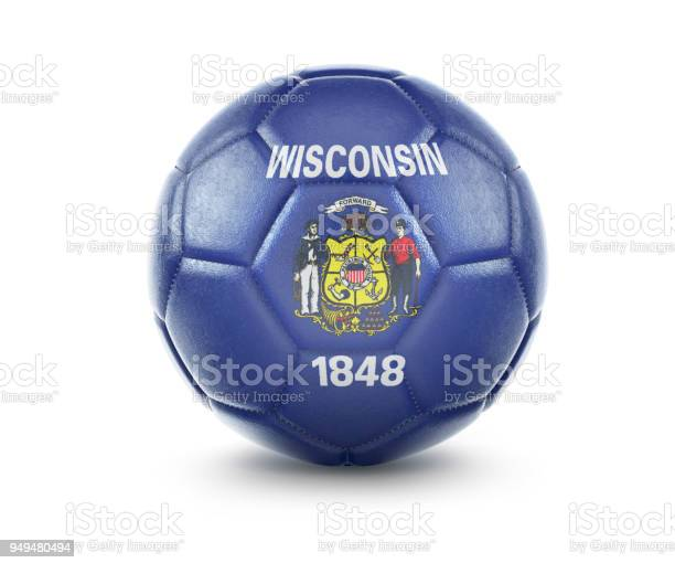 High qualitiy soccer ball with the flag of Wisconsin rendering.(series)