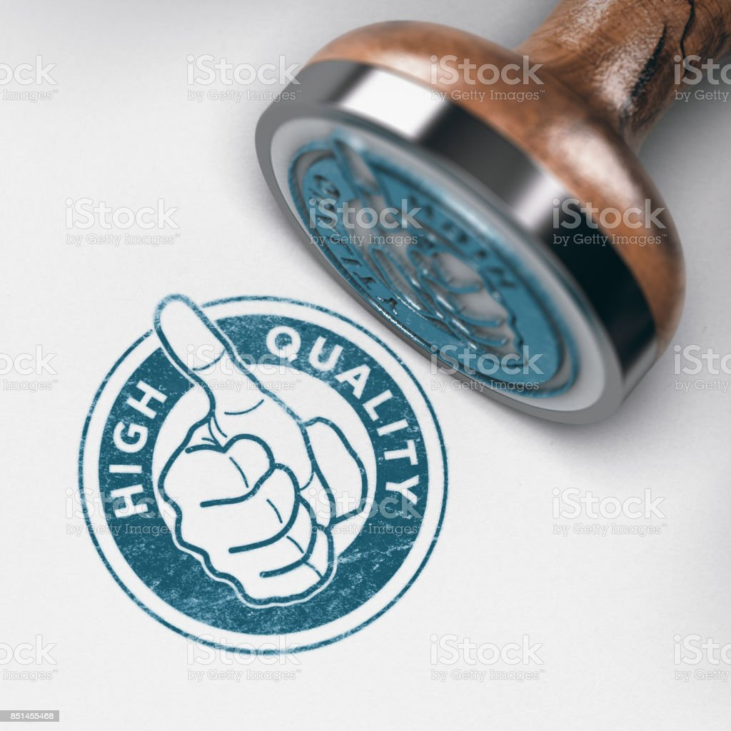 High Quality and Positive Feedback. Thumb up Stamp stock photo
