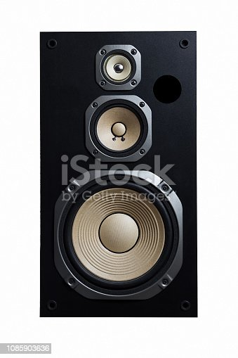 High quality loudspeakers.Hifi sound system in shop for sound recording studio.Professional hi-fi cabinet speaker box.Audio equipment for record studios.Buy dj equip in music store
