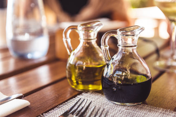 High quality olive oil and balsamic vinegar stock photo