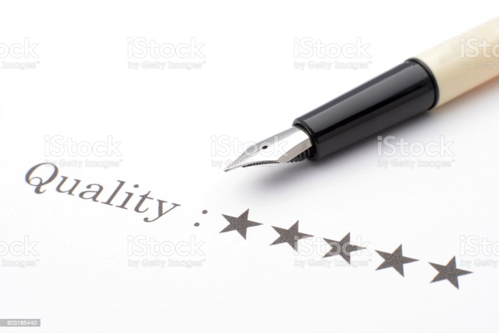 High quality with five stars stock photo