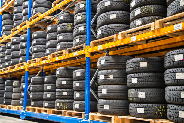 High rack in a tire warehouse stock photo