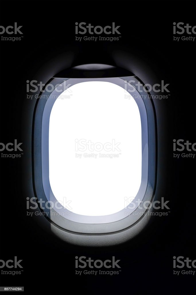 High resolution aircraft's window on white background stock photo