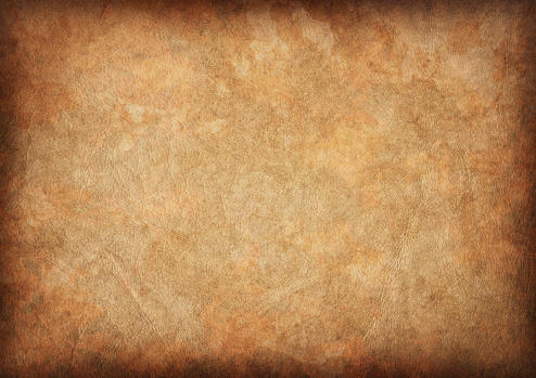This High Resolution scan of Antique Animal Skin Parchment, Crumpled, Wizened, Mottled, Blotted, Vignette Grunge Texture, is excellent choice for implementation in various CG Projects.