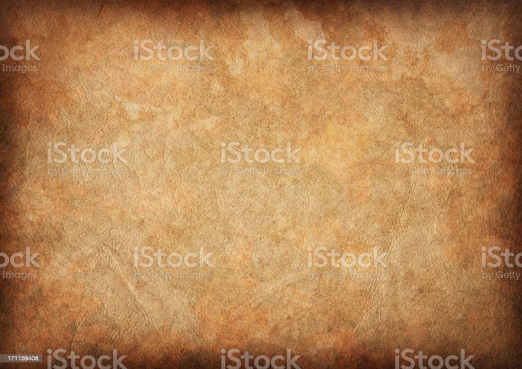 High Resolution Ancient Animal Skin Parchment Vignette Grunge Texture stock photo