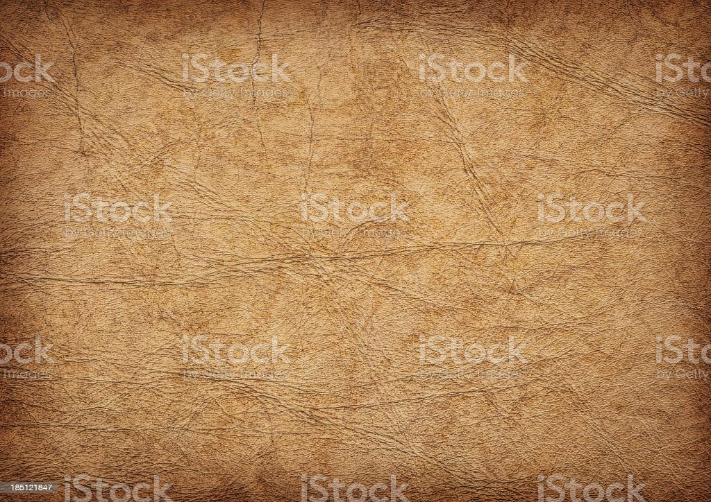 High Resolution Ancient Animal Skin Parchment Vignette Grunge Texture royalty-free stock photo