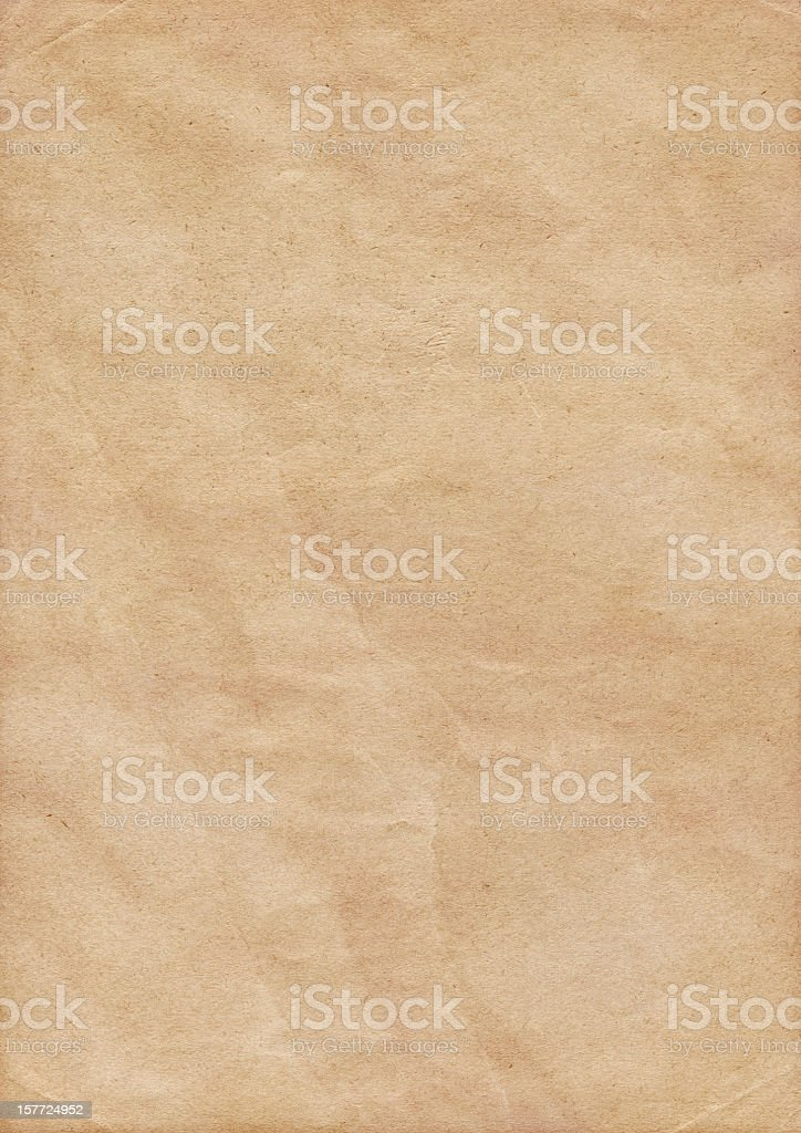 High Resolution Antique Beige Paper Crumpled Grunge Texture royalty-free stock photo