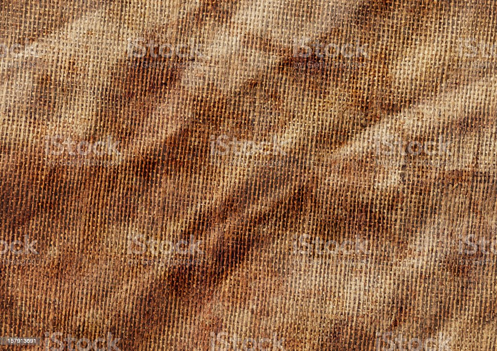 High Resolution Antique Burlap Canvas Wrinkled Mottled Grunge Texture royalty-free stock photo