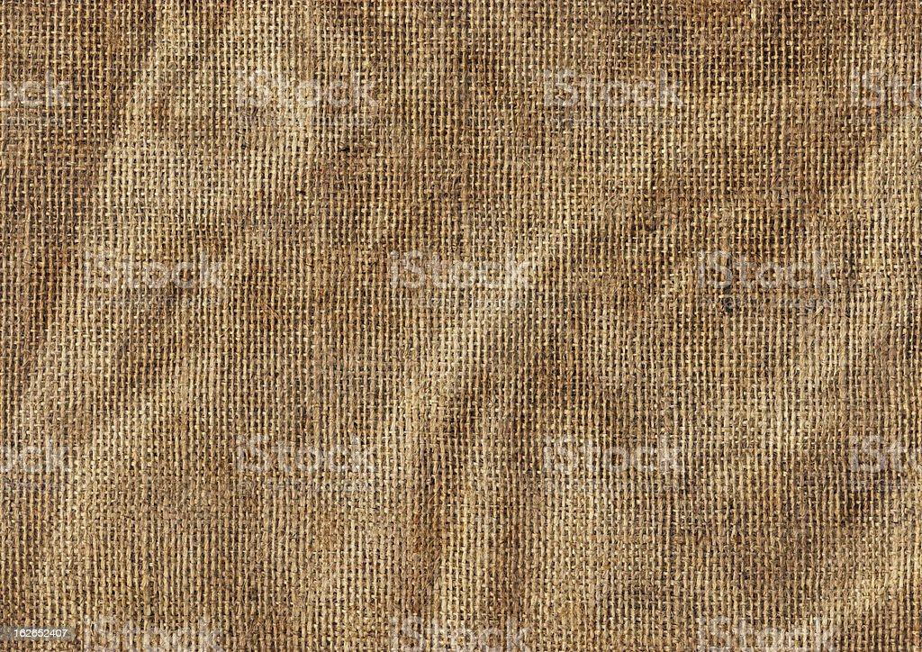 High Resolution Antique Jute Canvas Wrinkled Grunge Texture royalty-free stock photo
