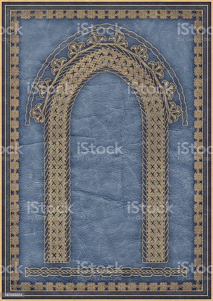 High Resolution Arabesque Medieval Decorative Gilded Motif on Blue Parchment royalty-free stock photo
