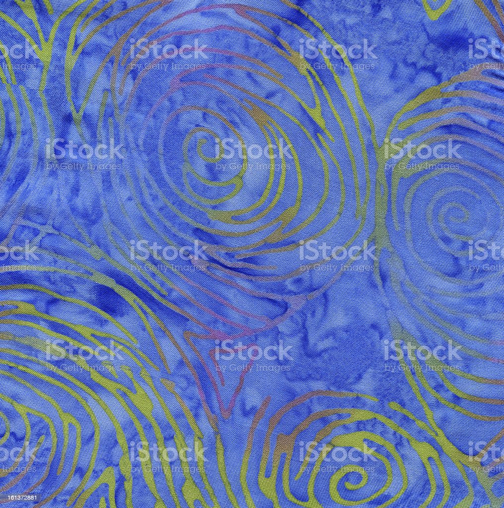 High Resolution Batik Blue Colored Fabric with Swirls Background stock photo
