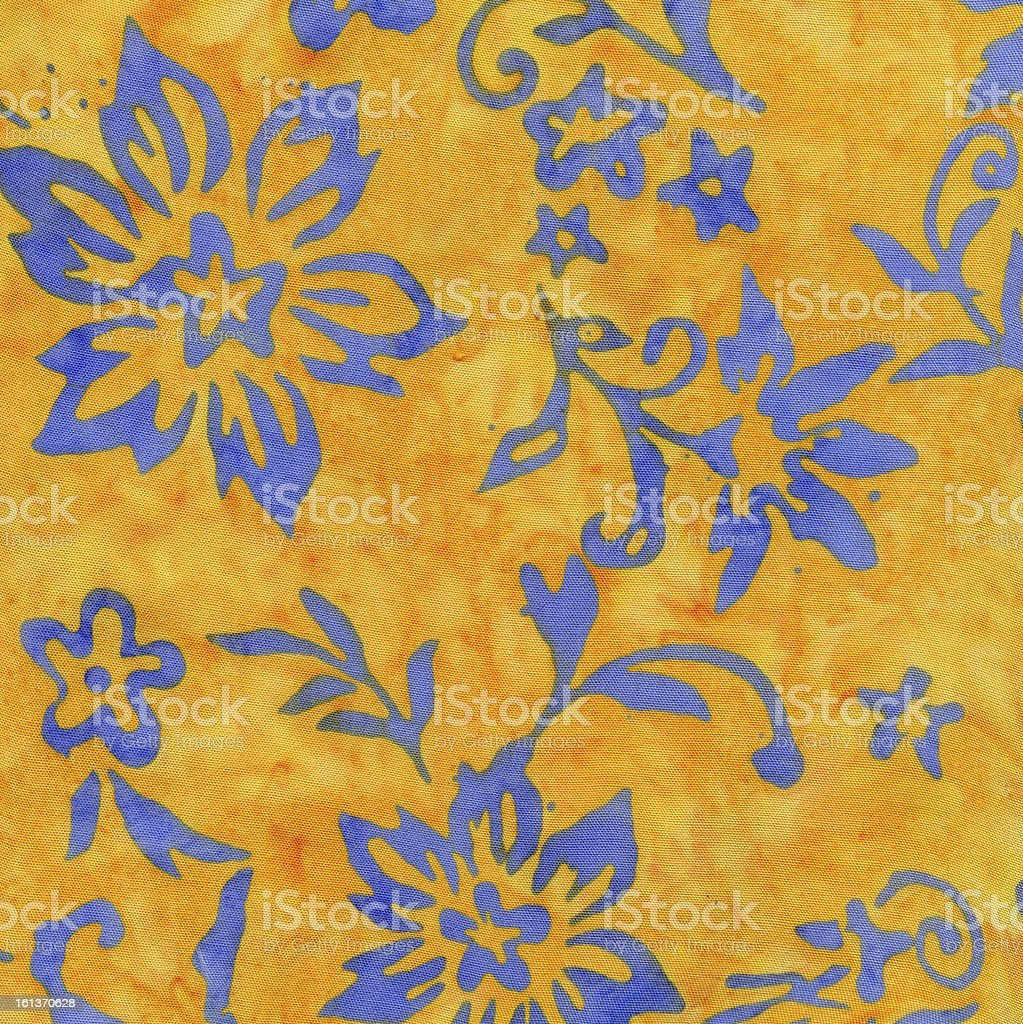 High Resolution Batik Bright Fabric Flowers Vines Background stock photo
