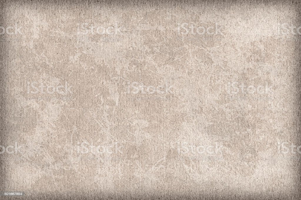 High Resolution Beige Striped Pastel Paper Mottled Vignette Grunge Texture stock photo
