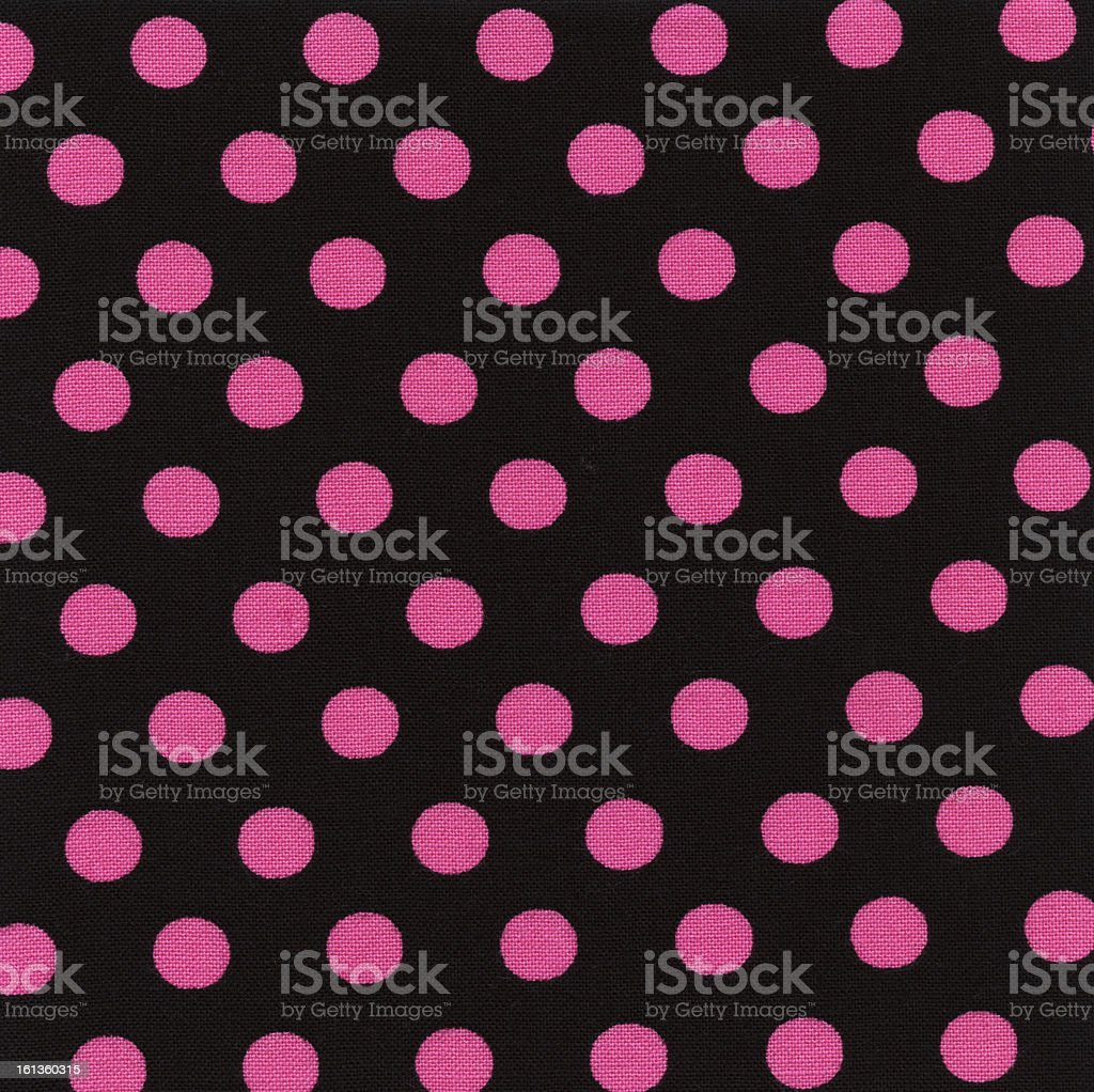 High Resolution Black Fabric Pink Polka Dots Texture and Backgrounds royalty-free stock photo