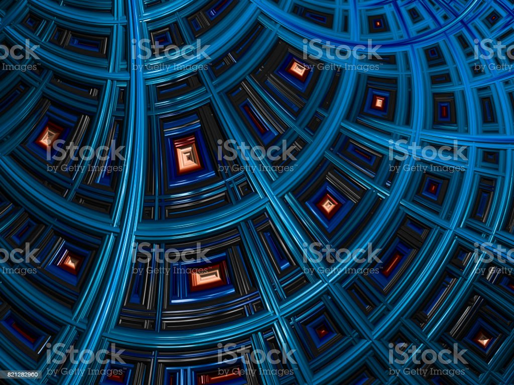 High resolution blue architectural fractal background. stock photo