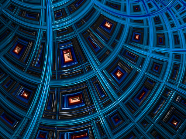 high resolution blue architectural fractal background. - fractal stock photos and pictures