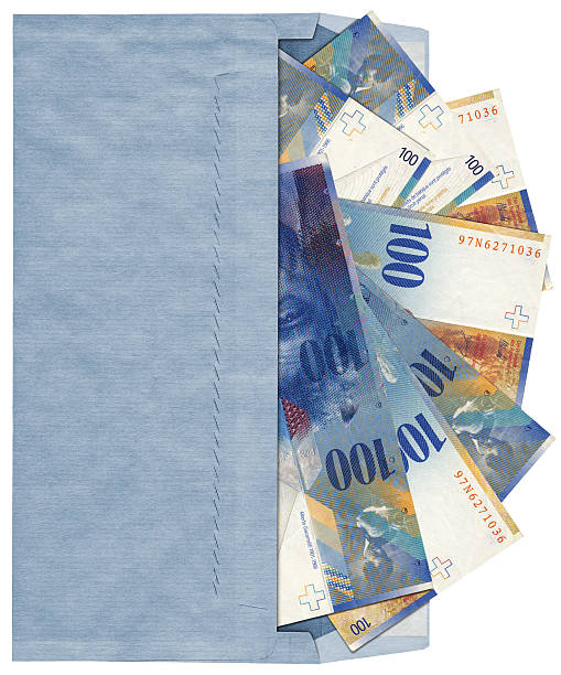 High Resolution Blue Commercial Envelope with 100 Swiss Franks Banknotes stock photo