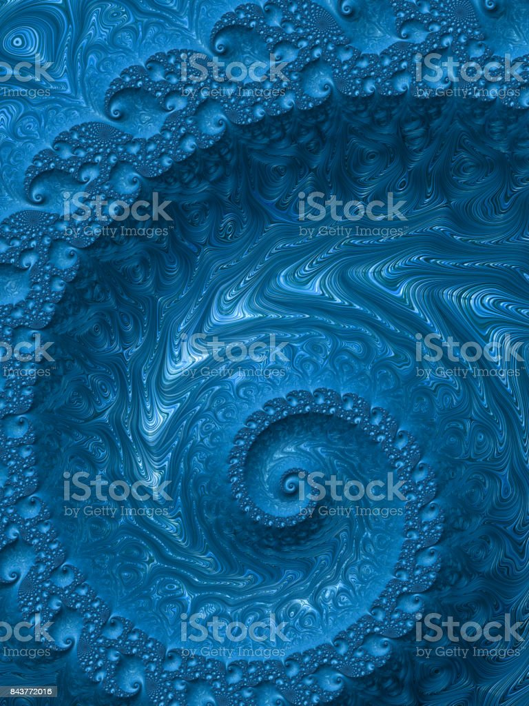 High resolution blue textured fractal background that reminds of a spiral. stock photo