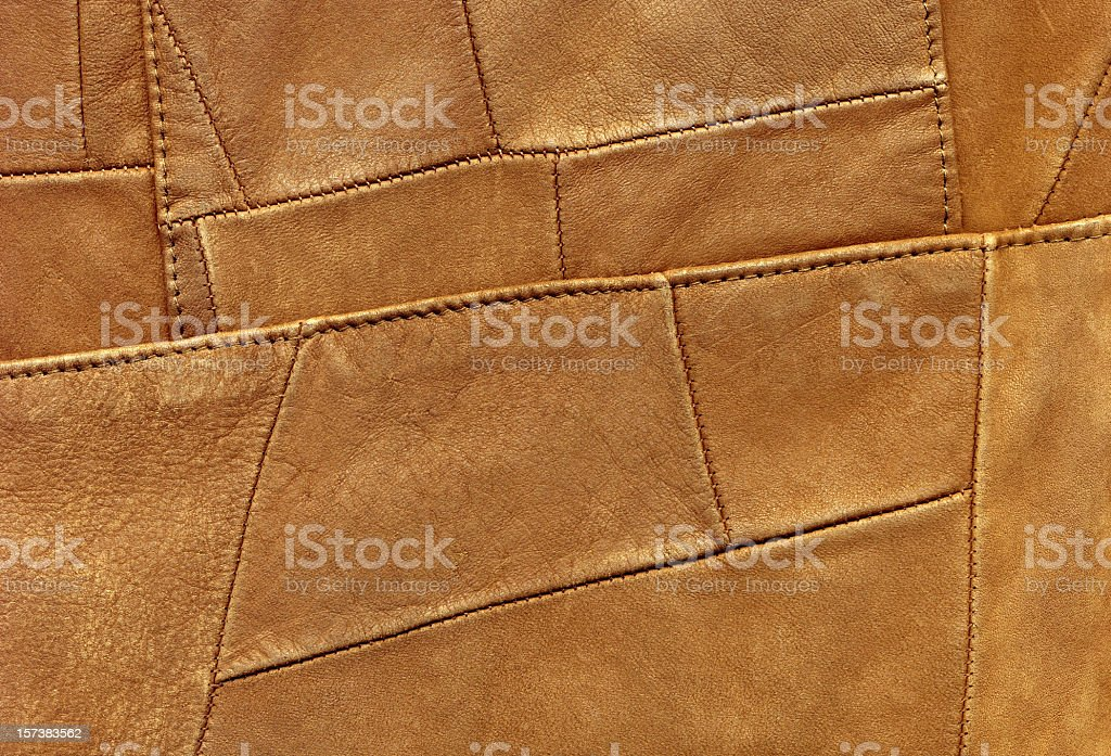 High Resolution Brown Leather Patchwork Texture Sample royalty-free stock photo