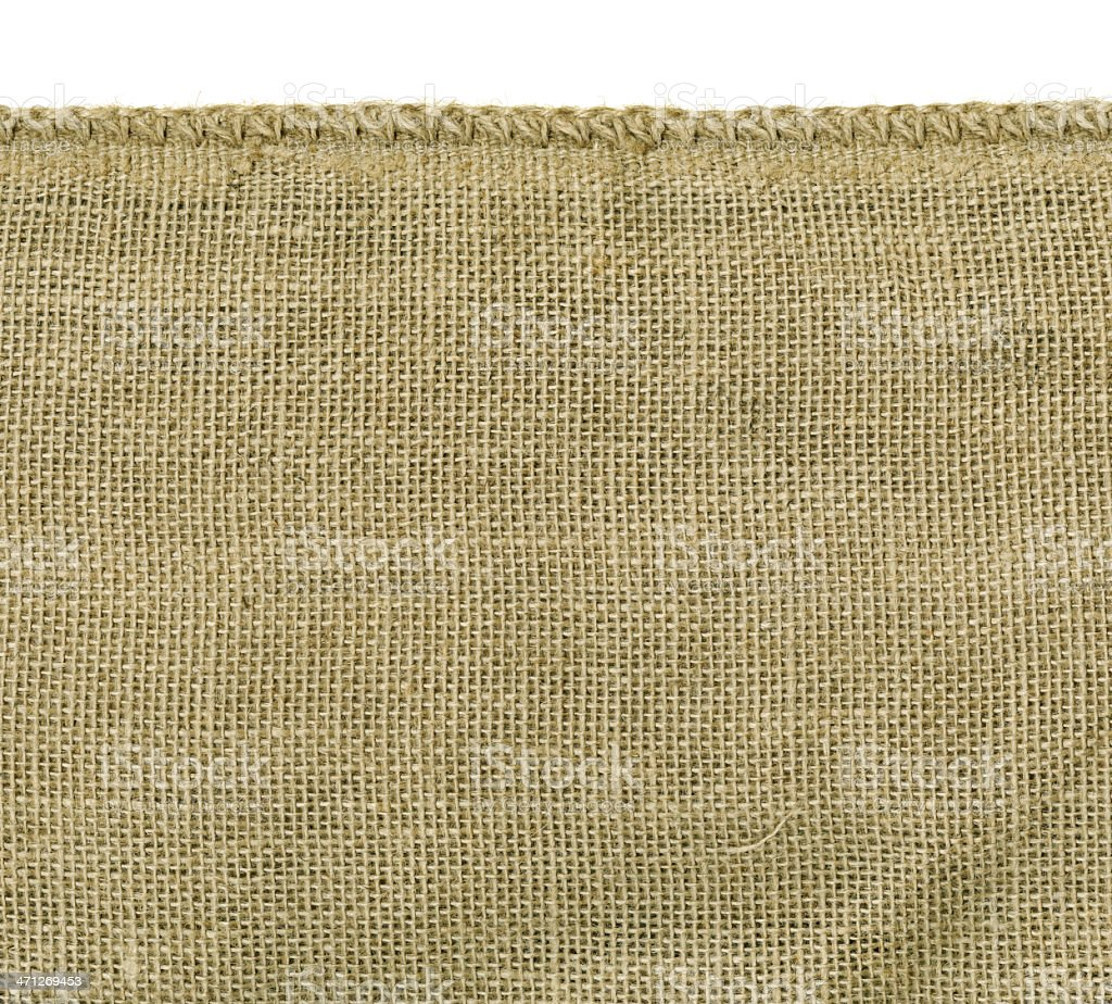 High Resolution Burlap With Stitched Edge royalty-free stock photo