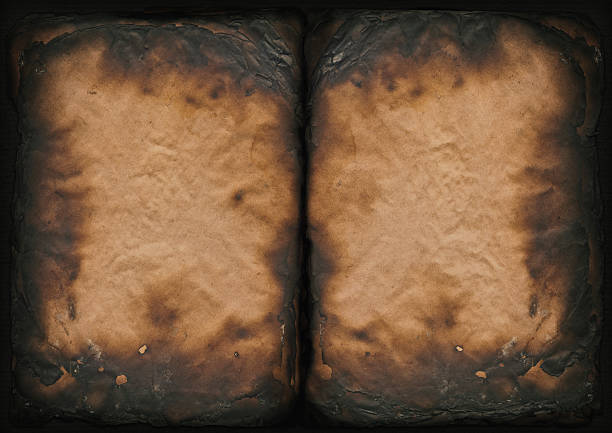 high resolution burnt antique book paper pages vignette grunge texture - verbrand stockfoto's en -beelden