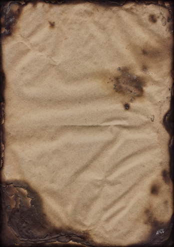 This Large, High Resolution Scan of Badly Burnt Antique Paper Sheets Stack, Carbonized, Stained, Vignette Grunge Texture, is excellent choice for implementation in various CG design projects.