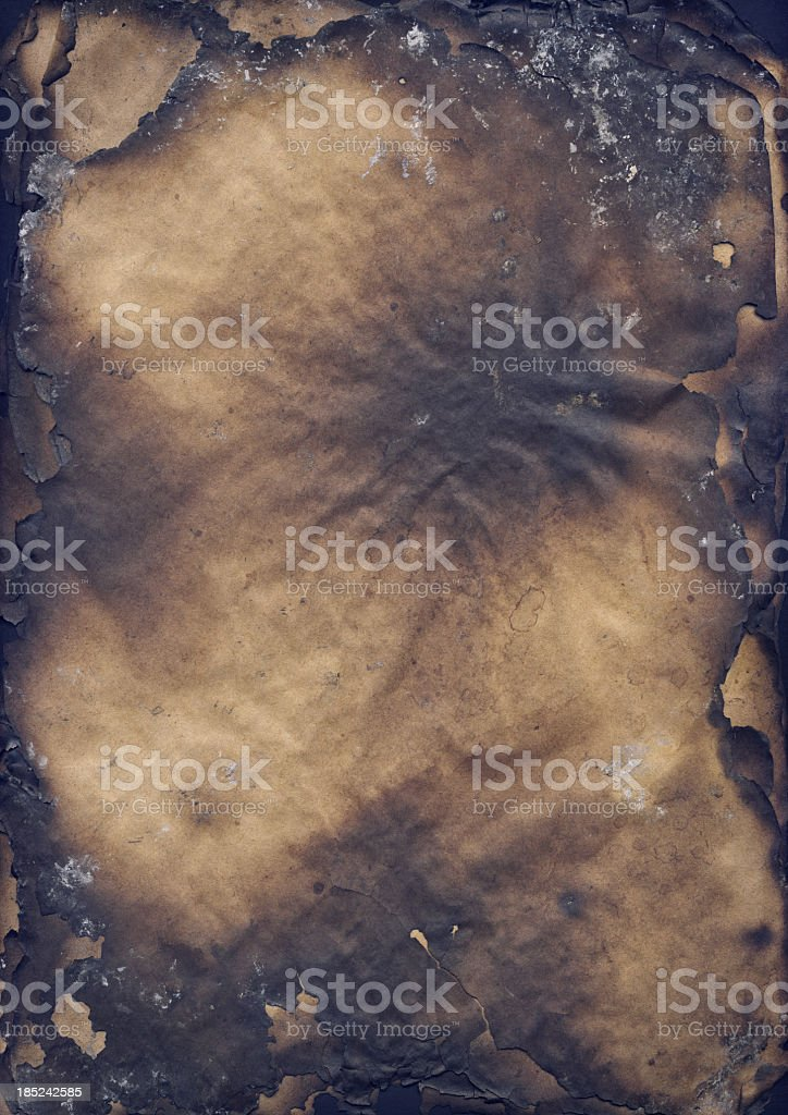High Resolution Burnt Paper Sheets Vignette Grunge Texture royalty-free stock photo