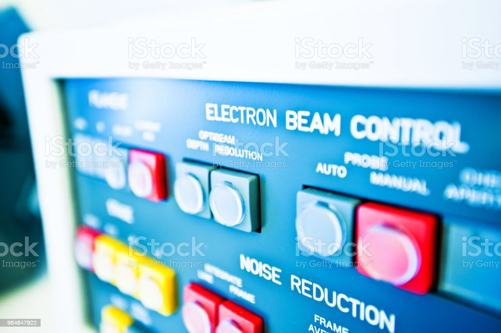 High Resolution Console In Master Control Room - Beam Control & Noise Reduction Buttons royalty-free stock photo