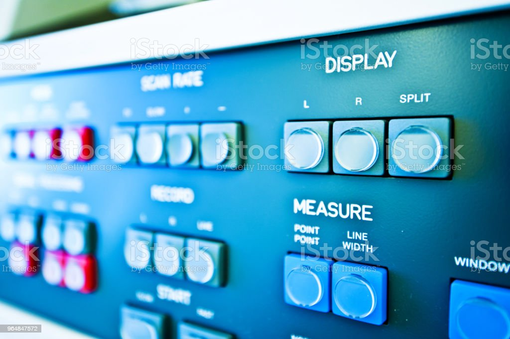 High Resolution Console In Master Control Room - Display & Measure Button royalty-free stock photo