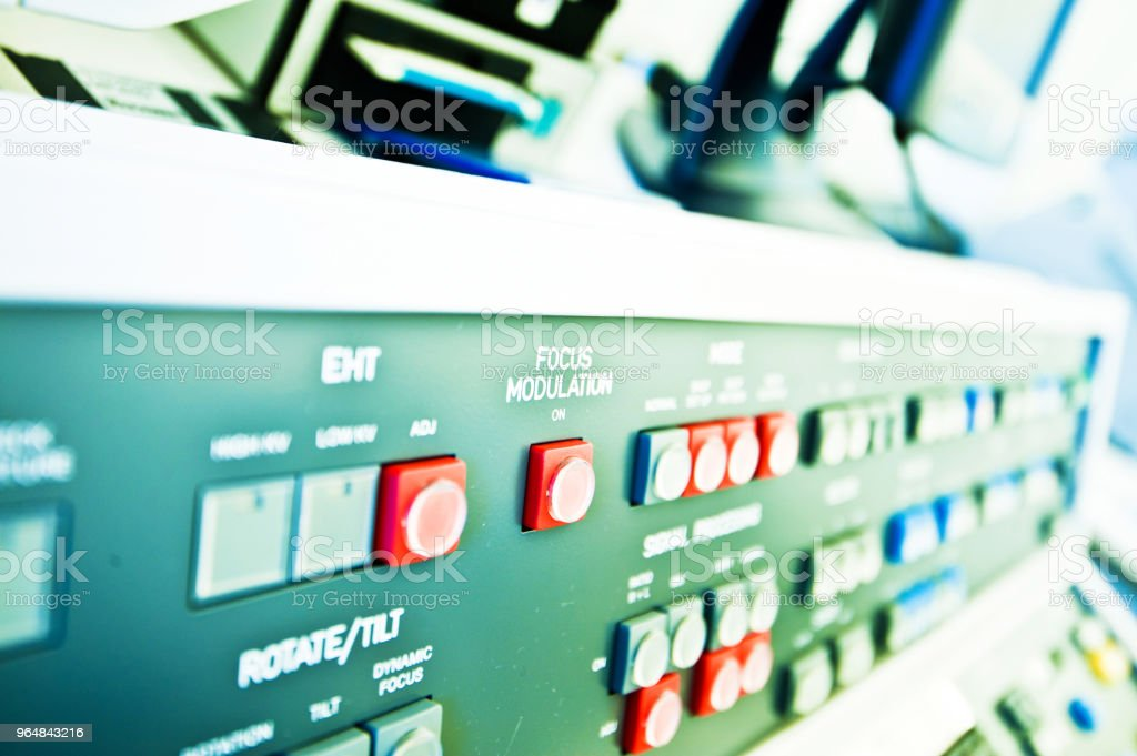 High Resolution Console In Master Control Room - Focus Button royalty-free stock photo