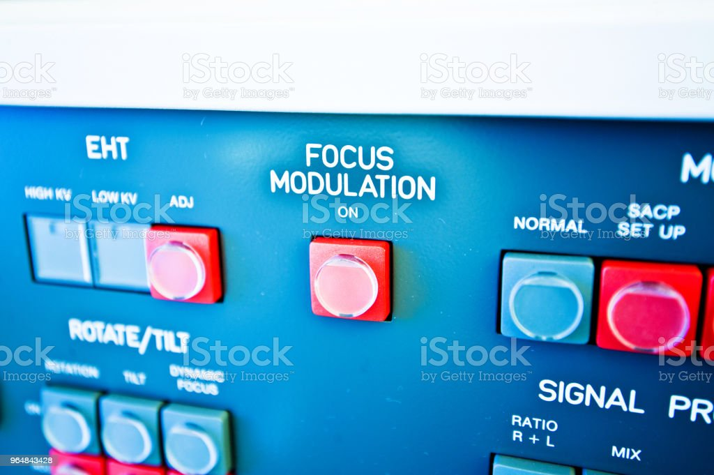 High Resolution Console In Master Control Room - Focus Buttons royalty-free stock photo