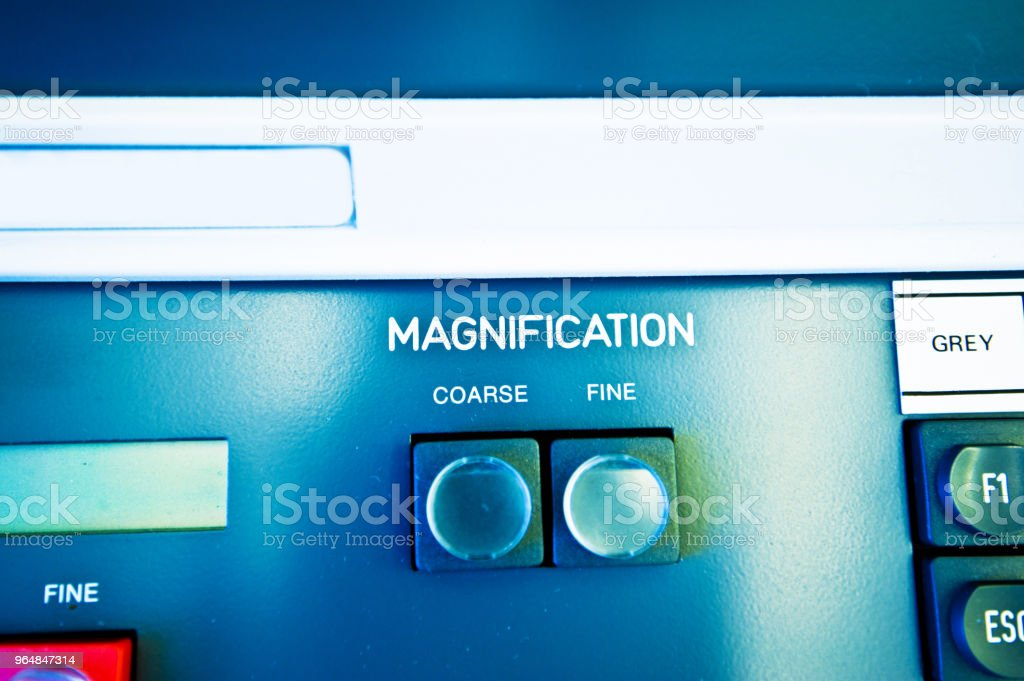 High Resolution Console In Master Control Room - Magnification Button royalty-free stock photo