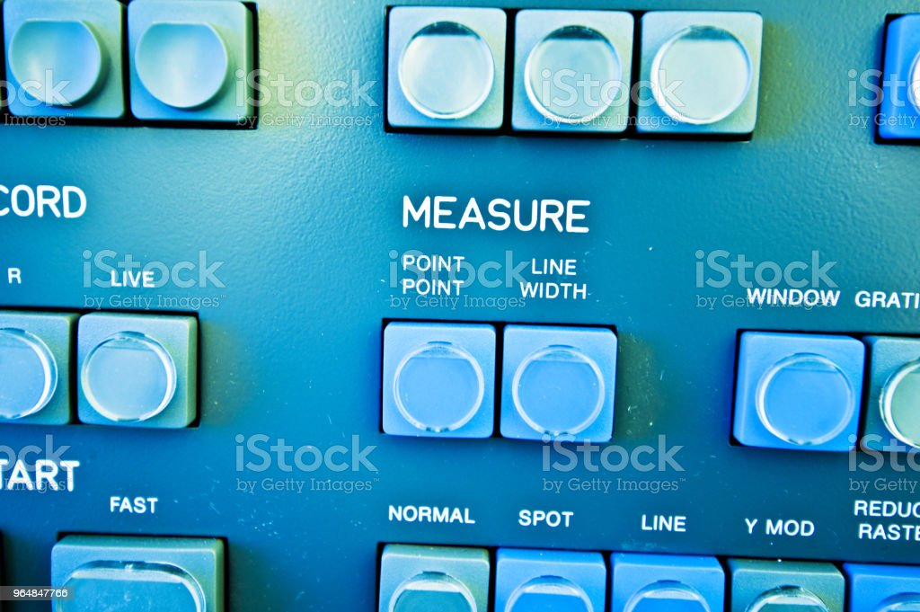 High Resolution Console In Master Control Room - Measure Buttons royalty-free stock photo