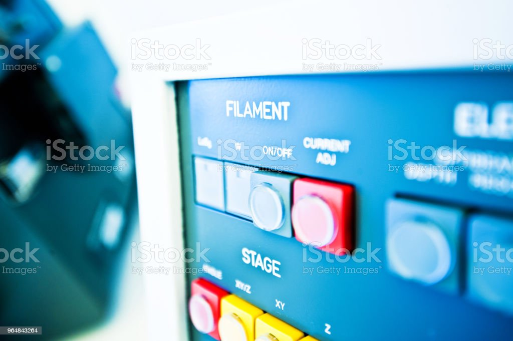 High Resolution Console In Master Control Room - Measurement and Instrumentation Device royalty-free stock photo
