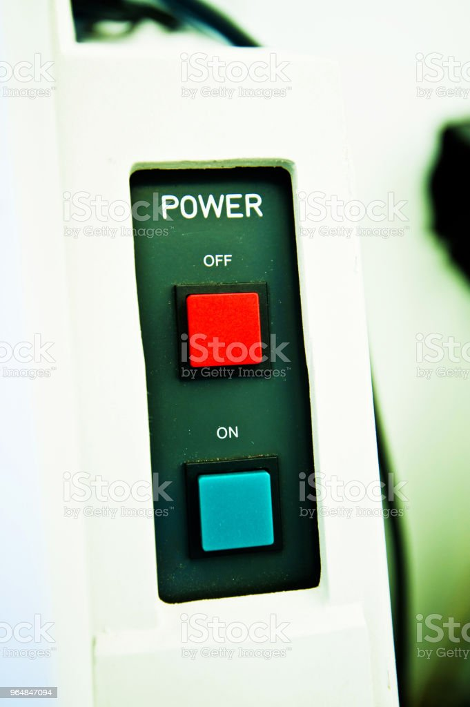 High Resolution Console In Master Control Room - On Off Power Buttons royalty-free stock photo