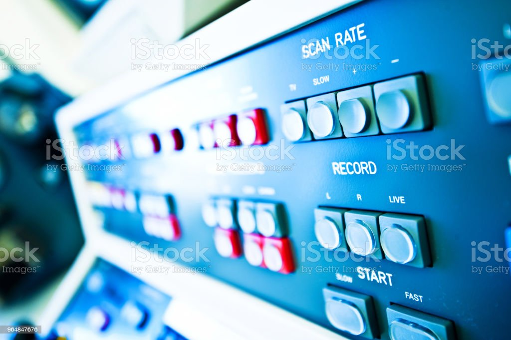 High Resolution Console In Master Control Room - Scan Rate & Record Buttons royalty-free stock photo