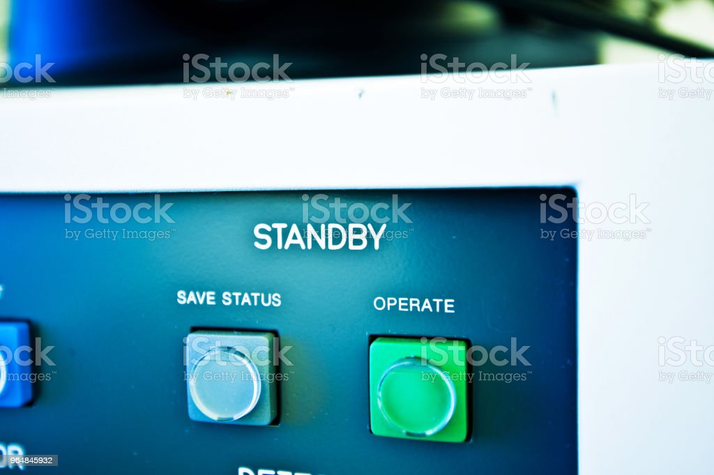 High Resolution Console In Master Control Room - Standby Button royalty-free stock photo