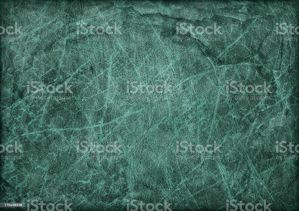 High Resolution Emerald Green Artificial Leather Crumpled Vignette Grunge Texture stock photo