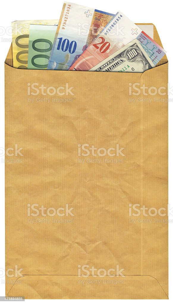 High Resolution Envelope with Swiss Franks Dollars and Euro Bills royalty-free stock photo