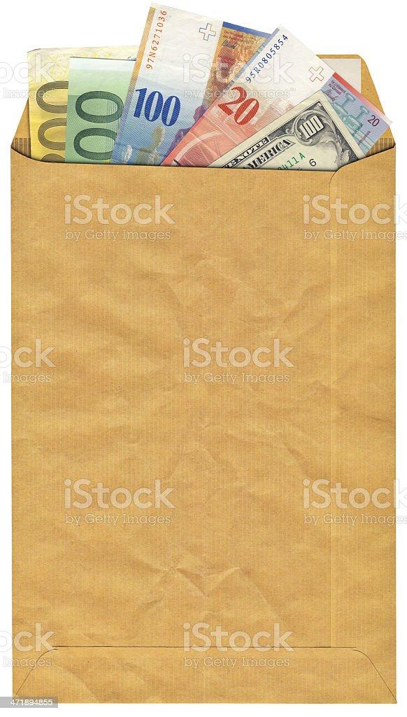 Marrón con insertado sobre suizo Franks dólares y Euro Bills - foto de stock