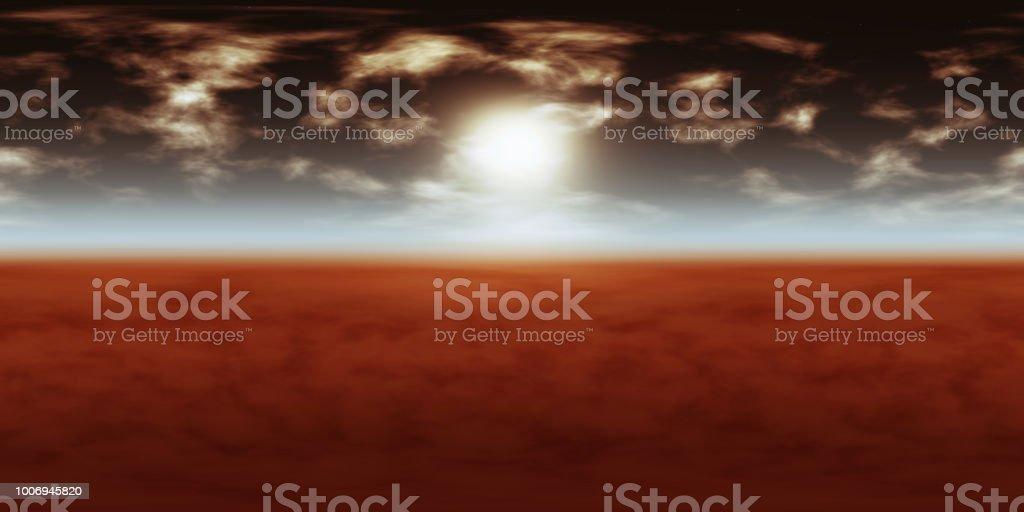 hochauflösende Umwelt 360° HDRI-Map, sphärischen Panorama, 3d Illustration Hintergrund, 8k für Equirectangular Projection (Dunkler Himmel mit Sonne, Weiße Wolken und Sterne über den roten Planeten) – Foto