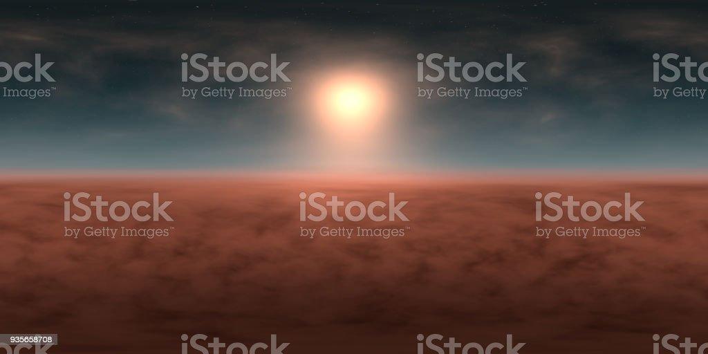 hochauflösende Umwelt 360° HDRI-Map, sphärischen Panorama, 3d Illustration Hintergrund, 8k für Equirectangular Projection (blauer Himmel mit strahlender Sonne, Sterne und Wolken über Landschaft) – Foto