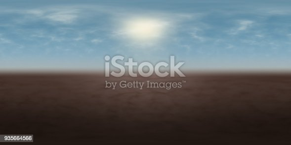 istock high resolution environmental 360 degree HDRI map, spherical panorama, 3d illustration background, 8k, for equirectangular projection (misty blue sky with bright sun over brown ground) 935664566