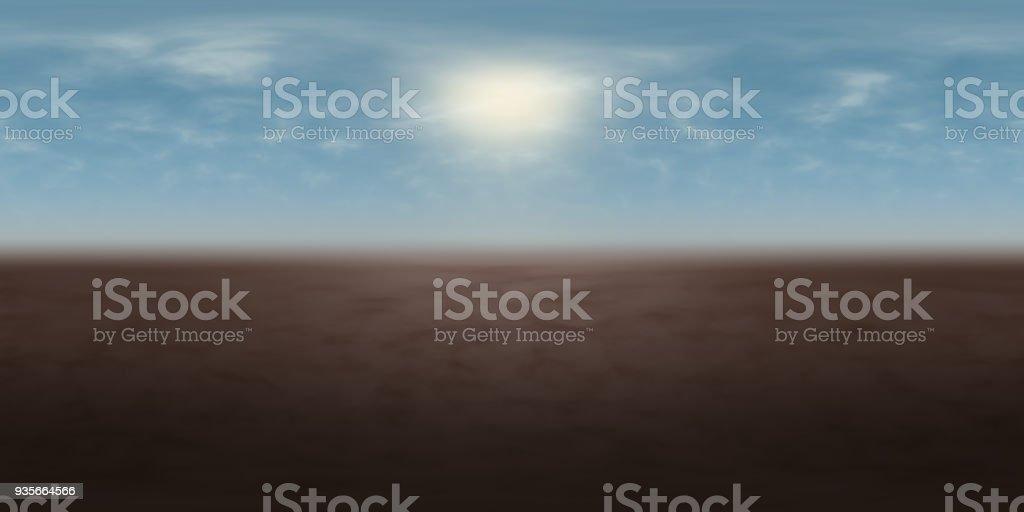 hochauflösende Umwelt 360° HDRI-Map, sphärischen Panorama, 3d Illustration Hintergrund, 8k für Equirectangular Projection (nebligen blauer Himmel mit strahlender Sonne über Braun Masse) – Foto