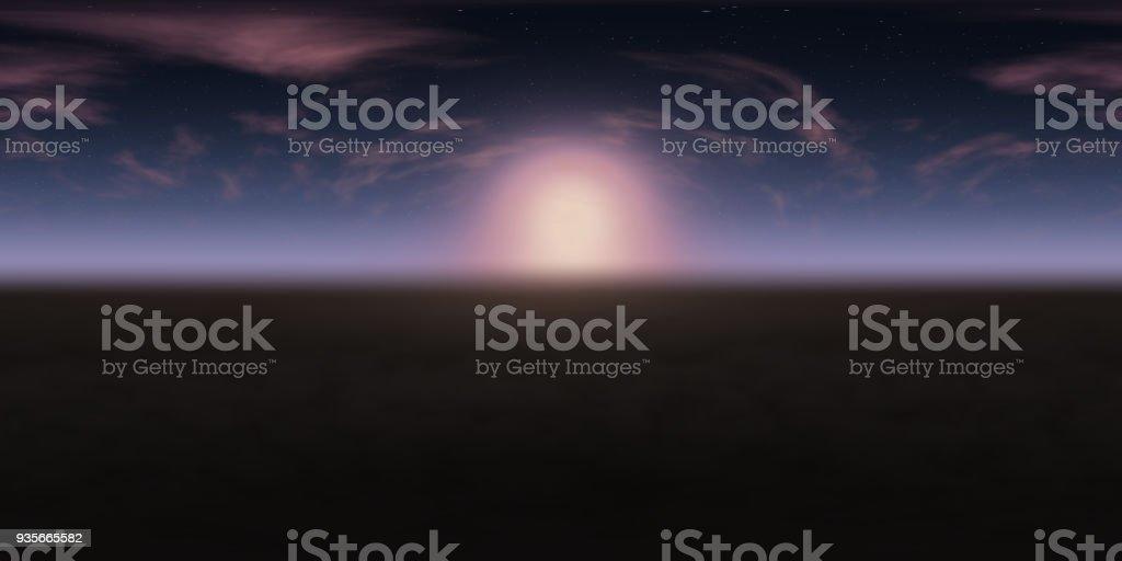hochauflösende Umwelt 360° HDRI-Map, sphärischen Panorama, 3d Illustration Hintergrund, 8k für Equirectangular Projection (Sonnenaufgang im blauen Sternenhimmel mit rosa Wolken über dunklen Boden) – Foto