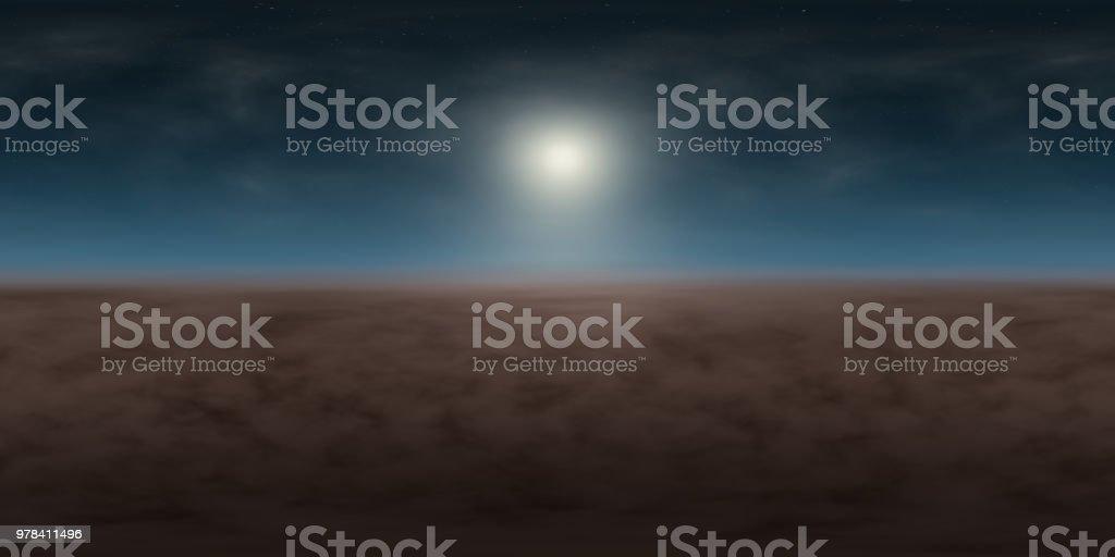 hochauflösende Umwelt 360° HDRI-Map, sphärischen Panorama, 3d Illustration Hintergrund, 8k für Equirectangular Projection (blauen Nachthimmel mit hellen Mond, Sternen und Wolken über Landschaft) – Foto