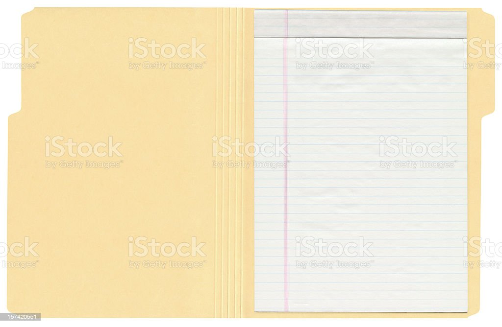 High Resolution File Folder With Ruled Note Pad stock photo