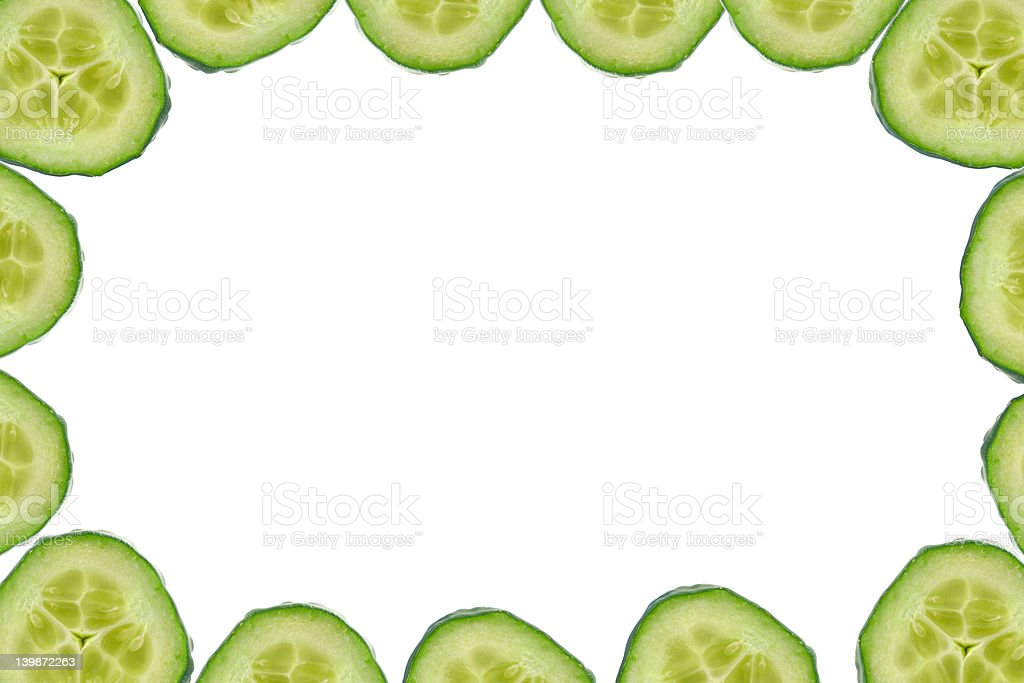 high resolution frame made of cucumber slices royalty-free stock photo