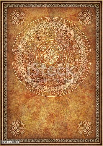 istock High Resolution Golden Decorative Medieval Tracery On Amber Brown Wizened Animal Skin Parchment Vignette Grunge Background Texture 884989014